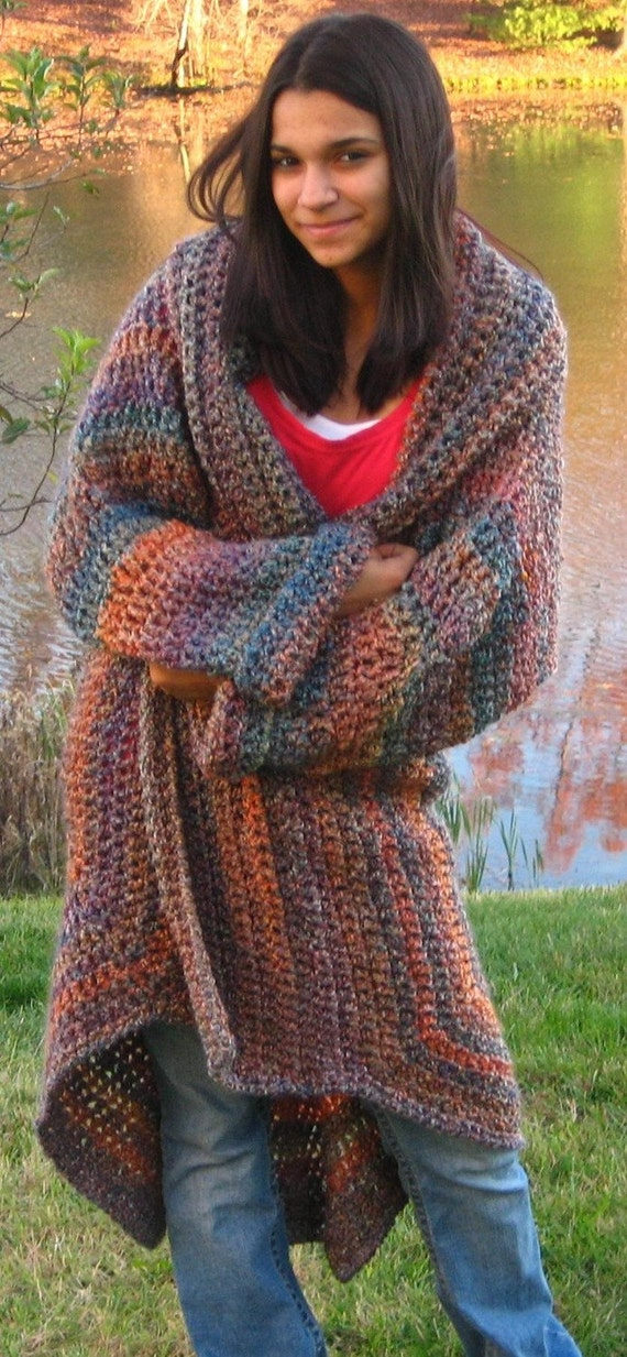 Crocheting Sweaters : Crocheted Sweater Coat in Painted Desert One by CrochetRoanoke