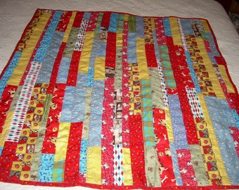Dogs Baby Quilt Lap Quilt Bright and Beautiful Colors Strippy String or Scrappy Quilt