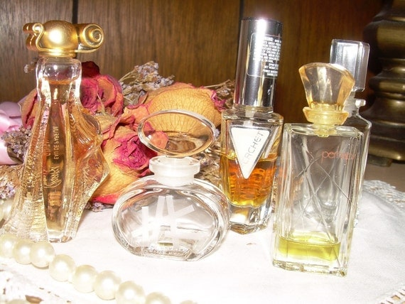 Five Miniture Perfume Cologne Bottles Collection Vintage Small But Famous Decoratore Items