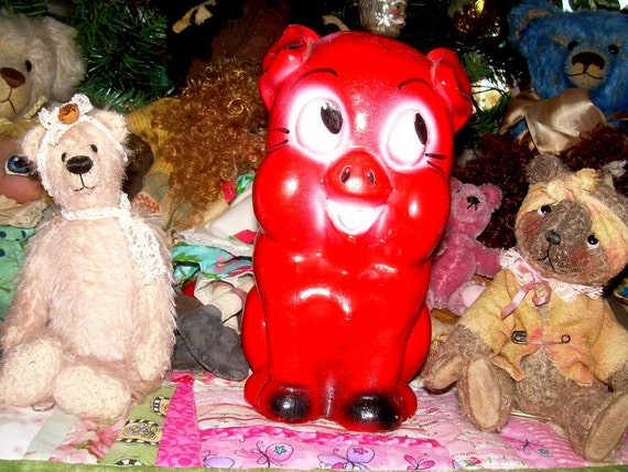 Chalk Ware  Red Piggy Bank Chalkware Piggie Bank Vintage