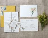 Vintage Inspired Floral Wedding Invitation Sample