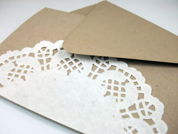 LIMITED EDITION Khaki and White Doily Stationery (set of 8)