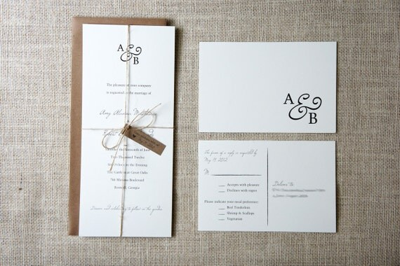 Rustic Monogram Wedding Invitation Sample