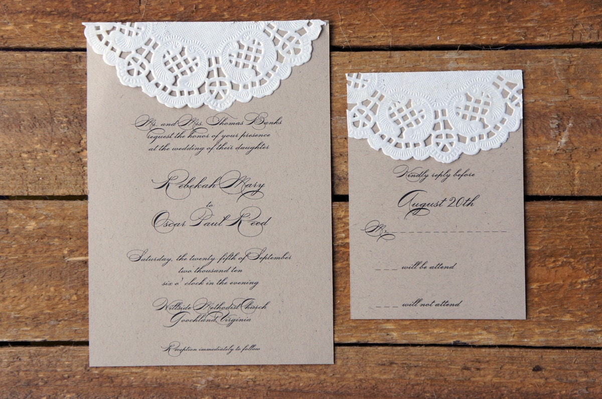 Sample Doily Wedding Invitation Set
