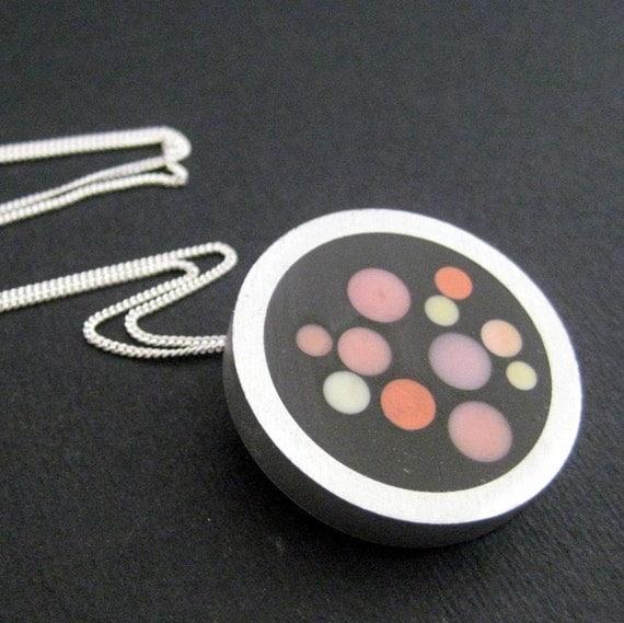 Pink and  orange Knitting needle Resin necklace Free Shipping