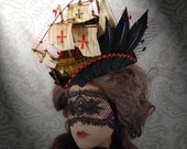 WITCHING HOUR SALE Lady Antoinette Miniature Pirate Ship Tricorn Hat Halloween Couture Pirate Queen Gothic Steampunk 18th Century Lolita