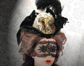 50 PERCENT OFF SALE Killer Victorian Gothic Crow Skull Pvc Tricorn Tilt Hat Steampunk Taxidermy Fetish Vampire Couture