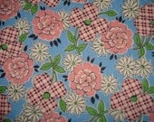 1940s Plaid Flower Print Cotton Fabric