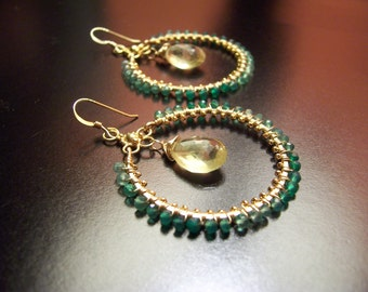 R a n i a - 14k gold filled - wire wrapped - hoop earrings