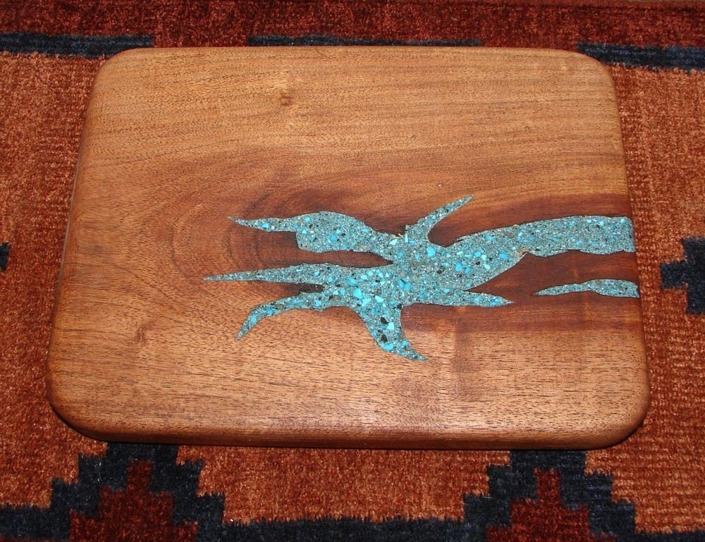 Handcrafted Wood Cutting Board Turquoise Inlay