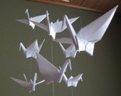 """14 Large Origami Cranes Mobile - Pure White, large 14 cranes folded from 6"""" (15 cm) Solid Origami in White, Home Decor, Bridal Shower"""