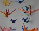 """SALE 30% Off - Large Origami Crane Mobile - Rainbow,  - large 22 cranes, 6"""" paper, 16 Solid and 6 Chiyogami Paper, Home Decor, Bridal Shower"""
