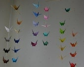 """34 Small Origami Cranes Mobile - Colour Palette, 34 cranes folded from 3"""" paper in 34 colours,  Home Decor, Nursery Decor, Baby Mobile"""