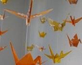 Origami Crane Mobile - Lucky Orange Glow