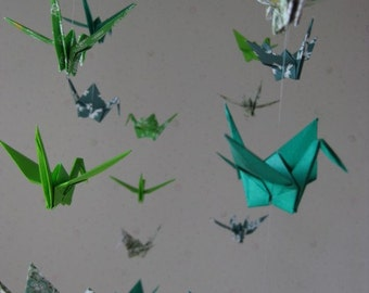 """34 Small Origami Cranes Mobile - Nature Worship, folded from 3"""" paper, 22 Patterned and 12 Solid Paper in Green Shades, Home Decor, Nursery"""