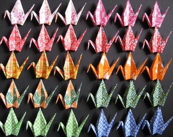 """30 Small Washi Chiyogami Cranes - 10 Designs, Japanese Washi Chiyogami, 3"""" (7.5cm) Washi Chiyogami, Chiyogami Cranes, Hand, Place Card"""