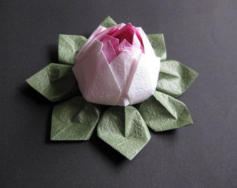 Origami Lotus Flower - White and Pink, Japanese Special Momigami, Anniversary, Hostess Gift, Birthday Gift, Table Decor, Get Well