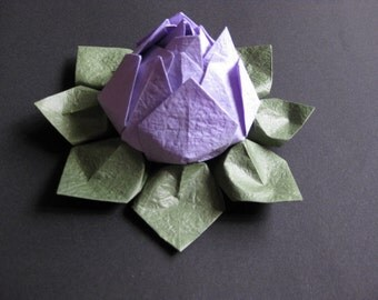 Origami Lotus Flower - Purple, Japanese Special Momigami, Anniversary, Hostess Gift, Birthday Gift, Table Decor, Get Well, Handmade