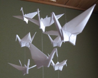 """SALE 30% OFF - 14 Large Origami Cranes Mobile - Pure White, large 14 cranes folded from 6"""" (15 cm) Solid Origami in White, Home Decor"""