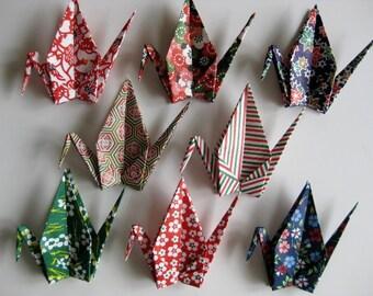 "8 Large Origami Cranes - 8 Designs, 6"" (15 cm) Japanese Heavy Washi Chiyogami, Origami Paper Cranes, Crane Bird, Chiyogami Crane, Handmade"