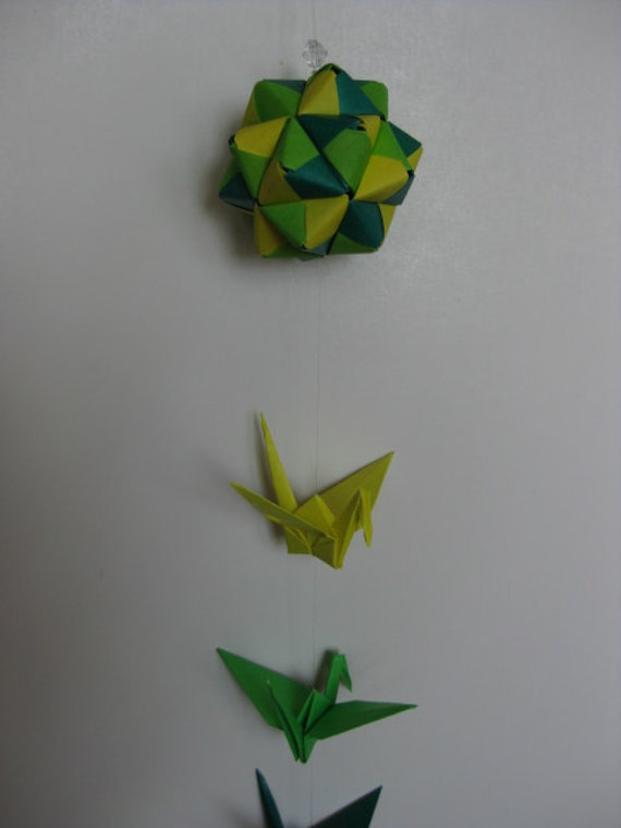 Origami Mobile - Module and Crane (Green-Yellow Green-Yellow)