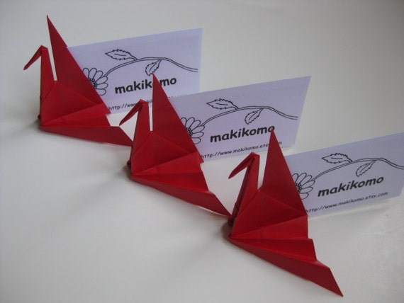 50 akane vibrant red origami crane place card holder