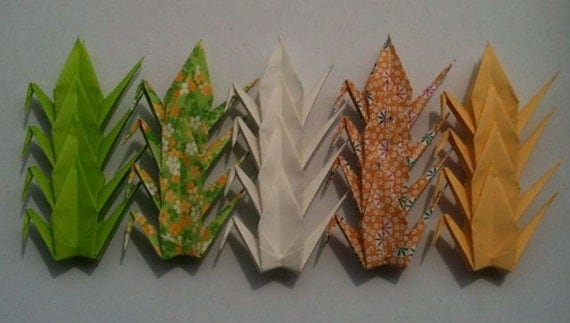"""20 Small Origami Cranes - Spring, 3"""" (7.5cm) Paper, 12 Solid and 8 Chiyogami, Origami Paper Cranes, Crane Bird, Chiyogami Cranes"""