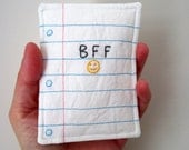 Best Friend Note Hand Embroidery with Notebook Paper Design