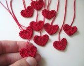 Tiny Hearts for Decorations, Gift Tags, Ornaments in Crimson Red