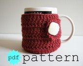 PDF Crochet Pattern Coffee Mug Cozy with Button Closure