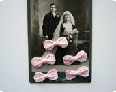 Romantic Miniature Crochet Bows in Light Pink for Decorations, Gift Wrap, and Embellishments