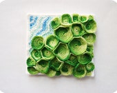 Contemporary Textile Art Mini Quilt Inspired by the Ocean - Green Sea Mat