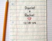 PERSONALIZED Couples Wedding Keepsake Hand Embroidered Notebook Paper Design, Eco Friendly Materials