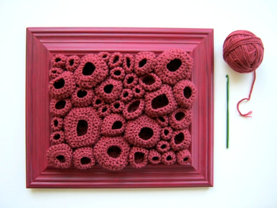 Textile Wall Art Free Form Crochet in Dark Pink - Papillae