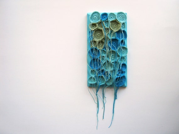 Tentacles Fiber Art Soft Sculpture Wall Art Hand Crocheted in Aqua, Turquoise, and Green
