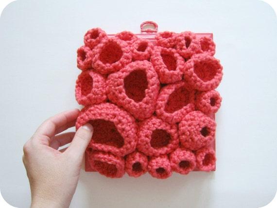 Organic Cotton Contemporary Fiber Art Wall Sculpture in Bright Pink  - Sea Coral Speciman