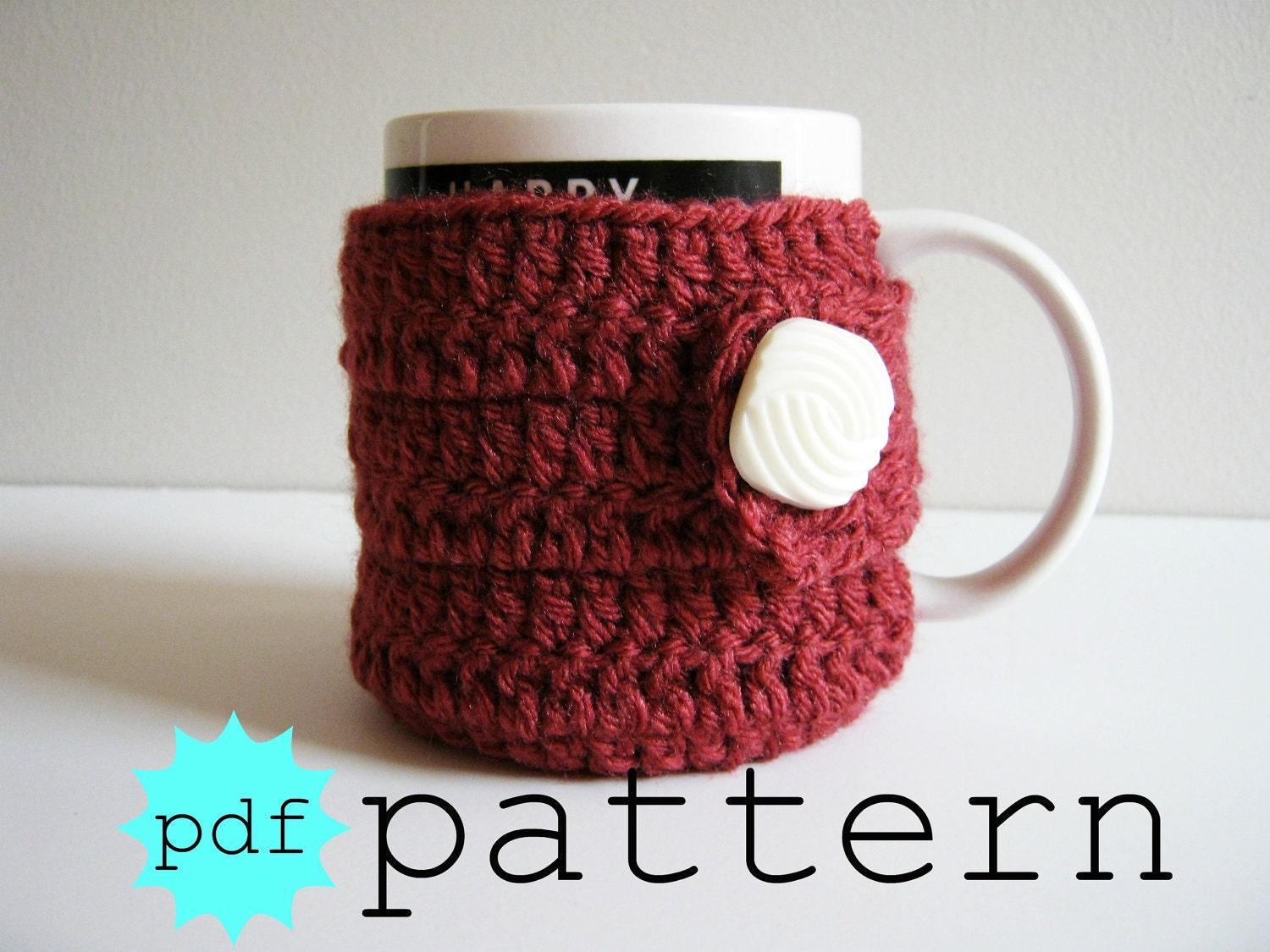 PDF Crochet Pattern Coffee Mug Cozy with Button by FullFlowerMoon