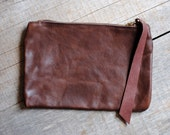 Brown Rose Leather Clutch