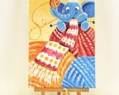 Knitting - archival medium beautiful print - Rondy the Elephant making the biggest scarf in the world - Oksancia