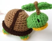 Sale Save 20% Inspired Crochet Amigurumi: Pokeman Turtwig Yarn Toy Crocheted with Washable Yarn - Handmade and Designed by The Silver Hook