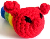 Bug Amigurumi: Bright Rainbow Caterpillar Toy with Red, Yellow, Green and Blue Washable Yarn  - Crocheted and Designed by The Silver Hook