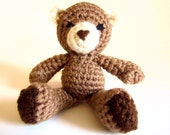 Animal Amigurumi: Teddy Bear RATTLE Toy in Cafe and Chocolate Browns and Cream Washable Yarn - Handcrafted and Designed by The Silver Hook