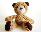 Forest Animal Amigurumi: Teddy Bear Toy Rattle Crocheted in Shades of Brown Washable Yarn - Handmade and Designed by The Silver Hook