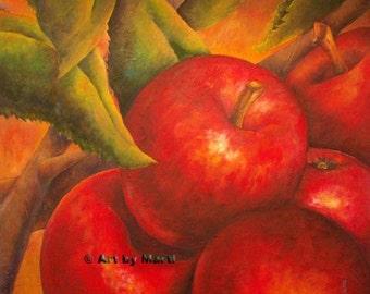NESTED APPLES Still Life Fruit Apple Giclee' Mini Print