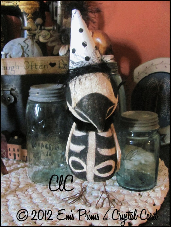 Primitive Art  Skeleton Crow  Doll Folk Halloween Goth