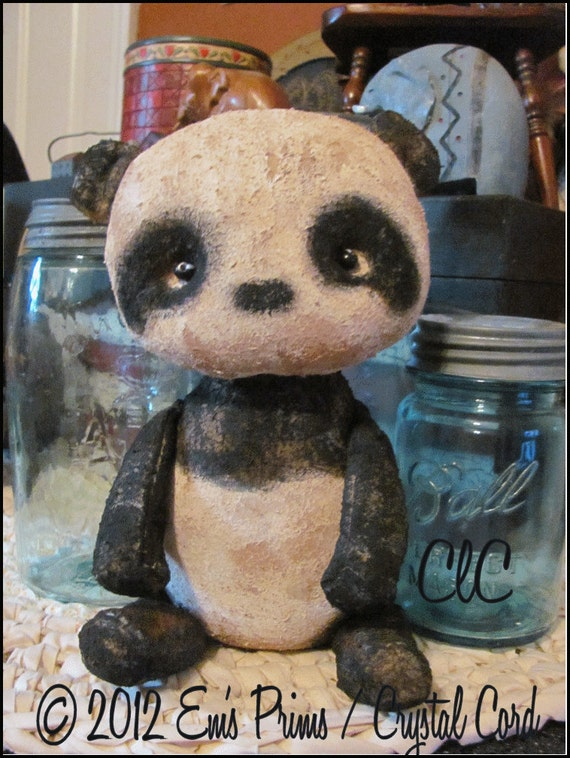 Primitive Panda Bear Shabby Cottage Chic Doll