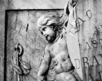 Cherub on Tomb Black and White Fine Art Photograph 8x10