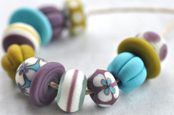 p i n o c e a n handmade lampwork beads set (12) - mix / ivory, purple, blue -