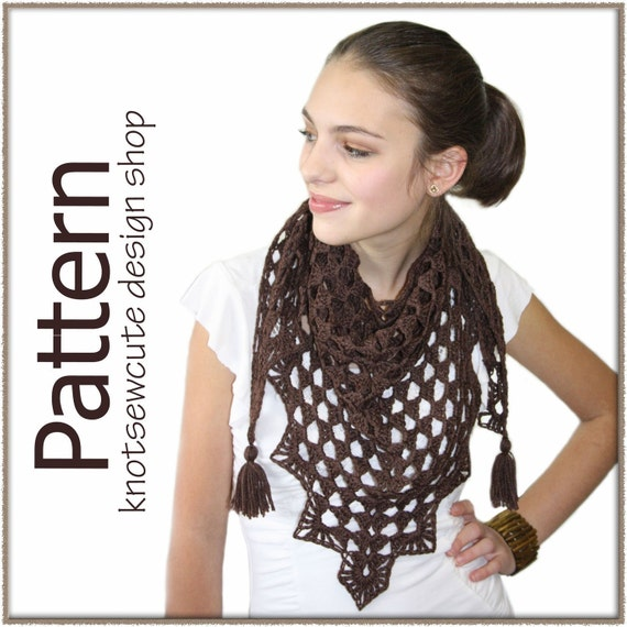 Pretty Triangle Scarf - Crochet Pattern (PDF) - INSTANT DOWNLOAD