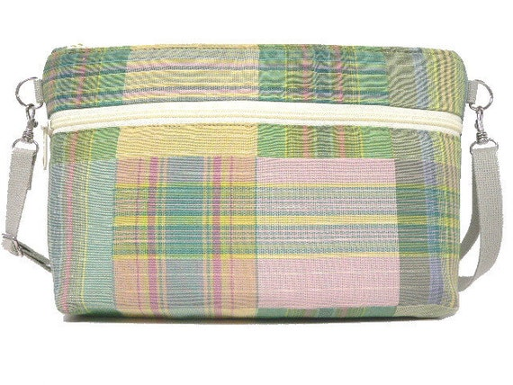 Marjorie Zippered Shoulder Bag Green Plaid Upholstery Fabric with Adjustable Strap